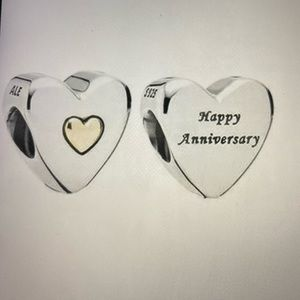 New Pandora Happy Anniversary Charm , Two tone .